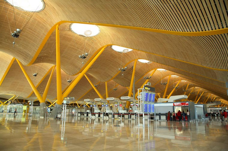 New terminal area at Madrid Barajas Airport by Rogers Stirk Harbour + Partners, bamboo supplied by Moso