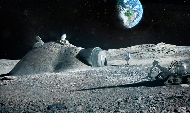 Rendering of 3D printed moon structure proposal by Foster + Partners