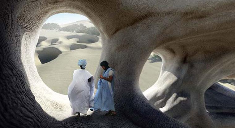 Dune 24 (rendering of landscape proposal employing Bacillus pasteurii bacteria) image © Magnus Larsson