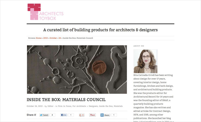 Materials Council interviewed by Architects Toybox